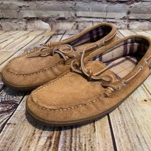 L. L. Bean Womens Brown Boat Lace Moccasins Size 8